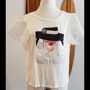 Love J Graphic T-shirt Lace Sleeves Pop Art Vogue